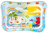 MyBry Products Baby Tummy Time Water Play Mat (26 x 20 Inch) Inflatable and Safe Tummy Time Mat for Baby Sensory Development - Engaging Colorful Tropical Design
