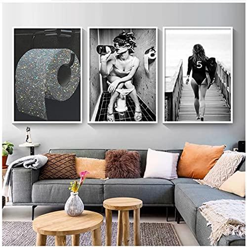 Blanco y negro, inodoro moderno, mujer Sexy, impresiones en lienzo, Bar, niña, bebiendo, baño, imagen, póster, rollo de papel, pintura, decoración