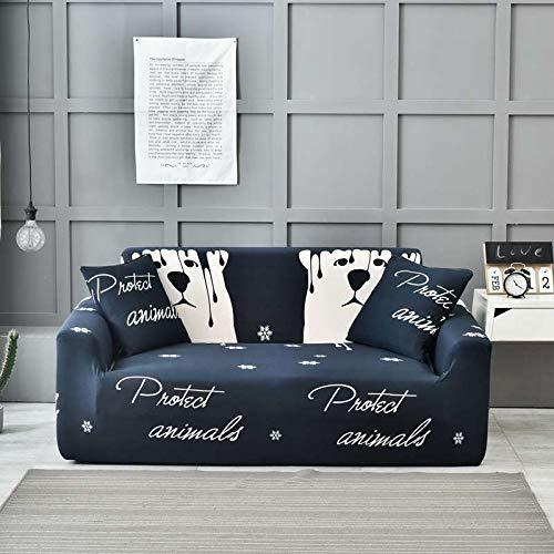 HKPLDE Funda De Sofá Elástico Jacquard, Fundas De Sillón 3 Seater Spandex Floral Pattern Anti-Slip Couch Slipcover para Mascotas-AK-4 plazas(87-114 Pulgada)