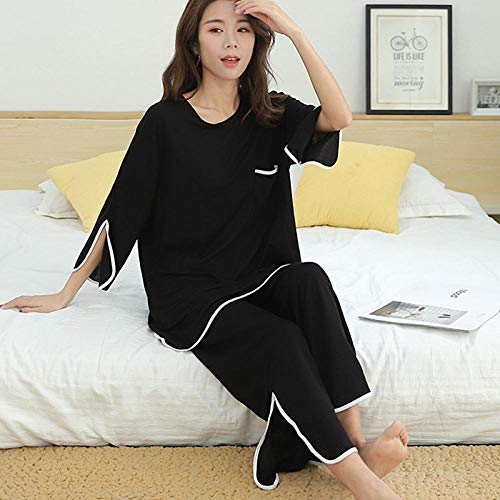 Tweedelige Set Vrouwen Lente Homewear Pakken Casual Modale 2-Delige Set Vrouwen Losse Flare T-Shirt + Wijde Pijpen Broek Nachtkleding