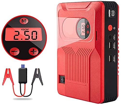 Arrancador de Coches, Arrancador de salto de automóvil, bomba de aire de alimentación de inicio de emergencia automática integrado, con función de monitoreo de presión de neumáticos, pantalla LED, ade