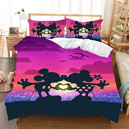 DTBDWOSY 3D Bedding Set Single 135X200 Cm Couple Anime Mouse - Printed Quilt Cover With Zipper Closure + Pillowcases, Microfiber Duvet Cover Set Easy Care For Children Teen Adult Single Double King