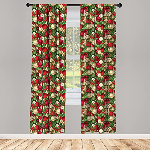 """Ambesonne Christmas Curtains, Tree Branches Spruce Leaves Balls Bells Cones Poinsettia Flowers Mistletoe Berry, Window Treatments 2 Panel Set for Living Room Bedroom Decor, 56"""" x 63"""", Ruby Green"""