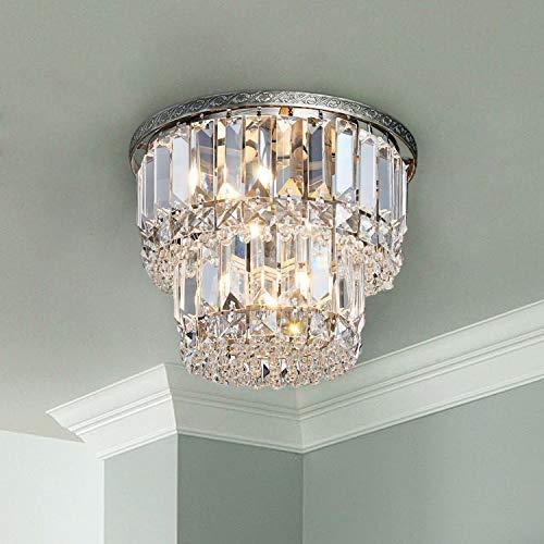 Saint Mossi Chandelier Modern K9 Crystal Raindrop Chandelier Lighting Flush Mount LED Ceiling Light Fixture Pendant Lamp for Dining Room Bathroom Bedroom Livingroom 3 G9 Bulbs Required H9' X D10'