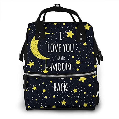 of baby lovess baby bags for moms I Love You to The Moon and Back Mummy Bag Diaper Tote Bags Durable Multi Function Mummy Backpack Tote Bag Nappy Bag Nursing Baby Bags for Mom and Dad