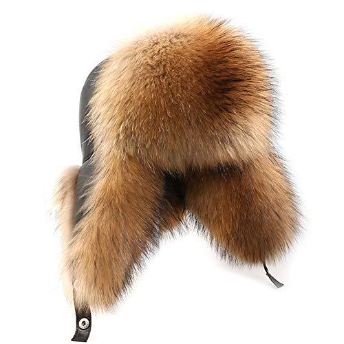 DTDYG18 Mens Fox Fur Hat Winter Genuine Leather Russian Ushanka Hats Natural Brown