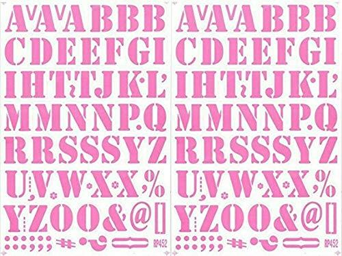 (シャシャン)XIAXIN 防水 PVC製 アルファベット ナンバー ステッカー セット 耐候 耐水 ローマ字 数字 キャラクター 表札 スーツケース ネームプレート ロッカー 屋内外 兼用 TS-518 (ピンク, 2点)