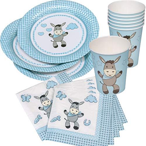 Neu 2019: 37-teiliges Party-Set * SÜSSER Esel * für Baby-Boy-Kindergeburtstag mit Teller + Becher + Servietten + Deko | Hellblau Jungen Design zum 1. Geburtstag