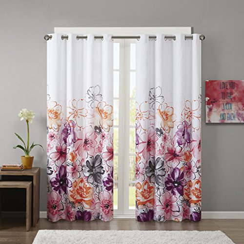 Intelligent Design Pink Blackout Curtains for Bedroom, Casual Room Darkening Window Curtains for Living Room Family Room, Olivia Floral Grommet Black Out Window Curtain, 50X84, 1-Panel Pack