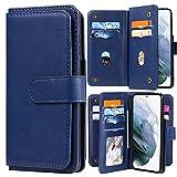 Blllue - Custodia a portafoglio compatibile con Huawei P Samart 2021, tinta unita, in pelle PU, con 10 scomparti per carte di credito per P Samart 2021, colore: Blu scuro