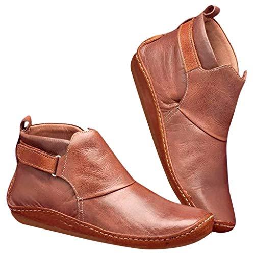NYYY Botas de piel vintage para mujer, planas, impermeables, de invierno, redondas, cómodas, planas, estilo deportivo, bajas, marrón, 41 EU