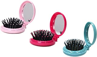 Louise Maelys 3pcs Round Folding Hair Brush with Mirror Pocket Travel Hair Comb for Purse Gift Idea