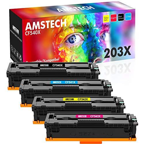 Amstech Kompatibel Toner Cartridge Replacement für HP 203X 203A CF540A CF540X Toner für HP Color Laserjet Pro MFP M281fdw M254dw M254 Toner HP MFP M281fdn MFP M280nw M254nw CF541X CF542X CF543X Toner