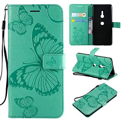 Sangrl Libro Funda para Sony Xperia XZ3, Premium PU Leather Case Lindo Diseño de Patrón en Relieve de Mariposa Flip Case Verde
