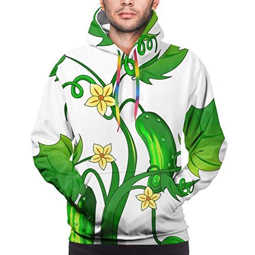 Pepino en el jardín con capucha para hombre divertido fresco gráfico sudaderas impresión 3D manga larga ropa casual con bolsillos grandes