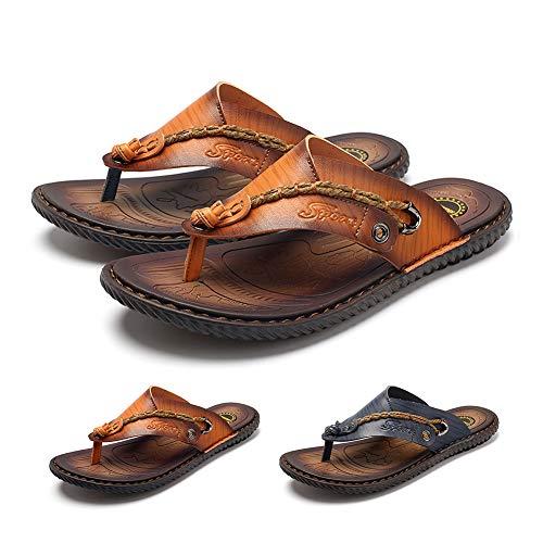 gracosy Sandalias Cuero Deportivas para Hombre Chanclas Verano Exterior con Punta Abierta Sandalias de Playa Y Piscina Zapatos Impermeables Playa Marrón Negro Azul 2020
