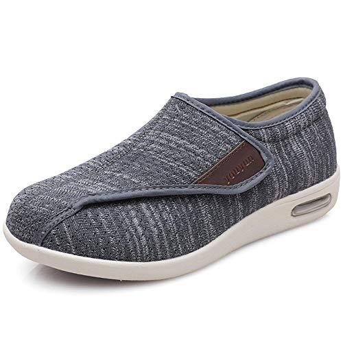 B/H Calzado OrtopéDico Ajustable para Artritis,Zapatos para Ancianos de Verano de Gran tamaño, Zapatos de Madre Antideslizantes-Gris Oscuro Yarn_35