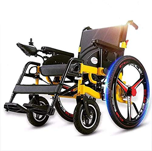 BJYG Portable Folding Heavy Duty Electric Mobility Wheelchair,Lightweight Power Chair,360 deg; Joystick Motorized Wheelchairs,Scooter, for Disabled Elderly A