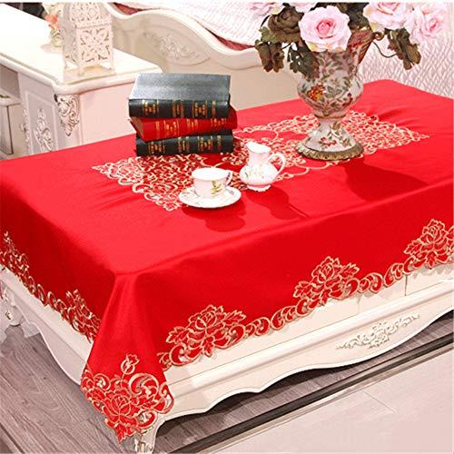 Wařm Mantel Vintage para Boda Mantel Bordado Mantel Cubierta de Tela para Mesa de Comedor Mesa de Centro Mantel Rojo 40x270CM