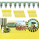 Set de Vajilla de Fiesta, 82PCS Suministros Fiesta de Construcción, Vajilla Fiesta Construcción Suministros para Fiestas de Construcción Vajillas Incluye Placas, Tenedores, Cuchillos, Vaso de Papel