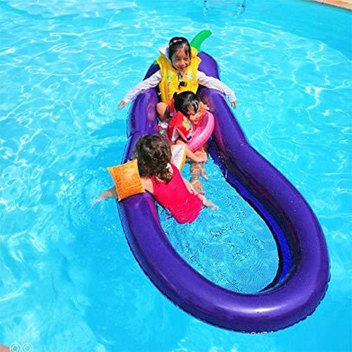 SISHUINIANHUA Sommerschwimmbad Schwimmende Aufblasbare Auberginenmatratze Schwimmring Kreis Insel Kühlwasser Party Spielzeug