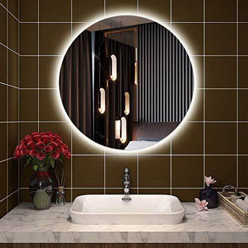 L&ED Espejo Retroiluminado Redondo, Espejo De Baño LED Iluminado, Montaje En Pared, Tocador, Hotel/Dormitorio/Salón, Luz Blanca, Sin Marco