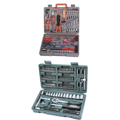 Mannesmann - M29555 - Valigetta degli attrezzi, 555 pz. + Mannesmann - M29166 - Set chiavi a tubo e inserti 130 pz.
