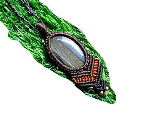 Collar de macramé de ágata Montana con colgante de piedra de ágata Montana, hecho a mano, bohemio, hippie, yoga, collar tribal