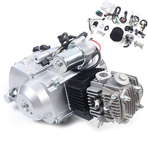 125CC Engine Motor 4 Stroke Single Cylinder Air-Cooled Pit Dirt Bike ATV Quad Engine Motor Carb Complete Kit Semi Automatic with Reverse Electric Start, 3 Forward Neutral Reverse Gear
