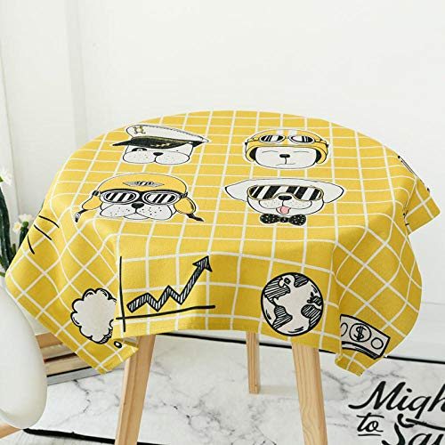 FGHOMEAQZB Einfache Cartoon Couchtisch Tischdecke Küchentischdecke Baumwolle Leinen Tischdecke @ Dog Hut Square_85 * 85