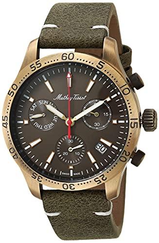 MATTHEY-TISSOT Correa de cuero de cuarzo de acero inoxidable para hombre, verde, 20 reloj casual (Modelo: H1822CHLBR)