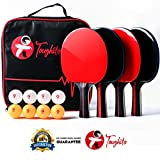 Toughito Pro Ping Pong Paddle Set - Portable Ping Pong Paddles Set of 4 with 2mm Imprint Free Rubber, 8 ITTF...