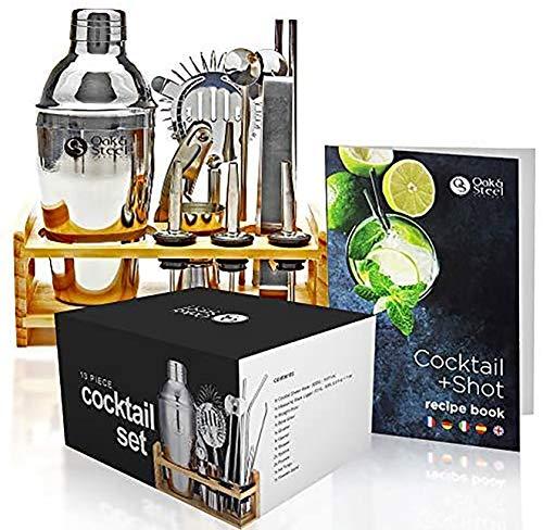 OAK & STEEL 13 Piezas  Kit de Coctelera de Cóctel Profesional - Kit Barman con Soporte de Madera y Libro de Recetas en Caja de Regalo