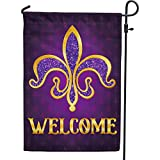 PAMBO Mardi Gras Garden Flag Double Sided 12x18,Gold Fleur de Lis New Orleans Mardi Gras Flags for Carnival Outside Outdoor Yard Decoration