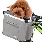Lixada Cesta delantera de bicicleta desmontable para manillar de bicicleta cesta de aluminio para mascotas