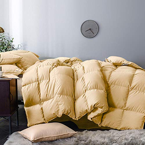 N / A Double Duvet,Duvet 95 white goose down thickened winter duvet hotel children's single and double student dormitory winter duvet duvet core-150X210cm_Elegant yellow