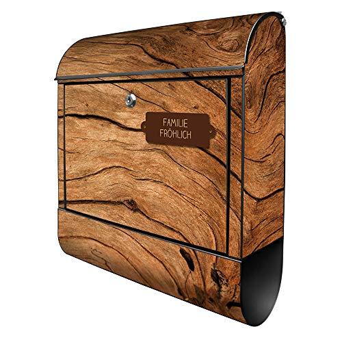 Banjado Design Briefkasten personalisiert mit Motiv Trockenes Holz | Stahl pulverbeschichtet mit Zeitungsrolle | Größe 39x47x14cm, 2 Schlüssel, A4 Einwurf, inkl. Montagematerial