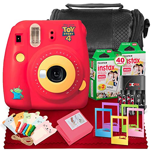 FUJIFILM INSTAX Mini 9 Instant Film Camera (Toy Story 4) + Fujifilm Instax Mini Twin Pack Instant Film (x2) (40 Exposures), Case, Frames, Clips, Album & Rechargeable Batteries w/Travel Quick Charger