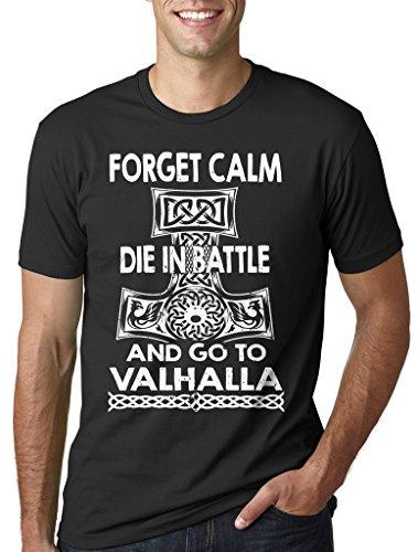 Silk Road Tees Hombres Valhalla Camiseta de Viking Camiseta Divertida Medium Negro