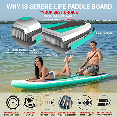 Product Image 3: SereneLife Inflatable Stand Up Paddle Board (6 Inches Thick) with Premium SUP Accessories & Carry Bag   Wide Stance, Bottom Fin for Paddling, Surf Control, Non-Slip Deck   Youth & Adult Standing Boat