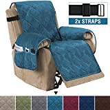 H.VERSAILTEX Recliner Sofa Slipcover Slip Resistant Quilted Velvet Plush Recliner Cover Furniture Protector Seat Width Up to 28' Couch Shield 2' Elastic Straps (Recliner, Peacock Blue)