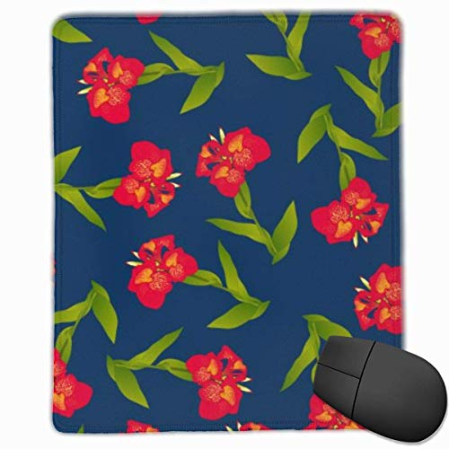 Mauspad Rot Canna Lily Auf Indigoblau Hintergrund Mauspadmatte Schnelle und genaue Bewegung Rutschfeste Basis, glatte Oberfläche