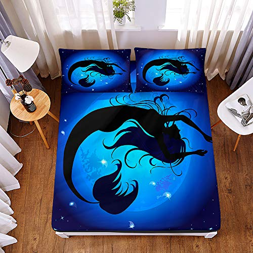 Bedding Fitted Sheets with 2 Pillowcases, Morbuy Psychedelic Mermaid 3D Printed Bedding Microfiber Soft Fade Resistant Bed Sheets for Single Double King Size Bedsheet Deep 30cm (200 * 200 * 30cm,H)