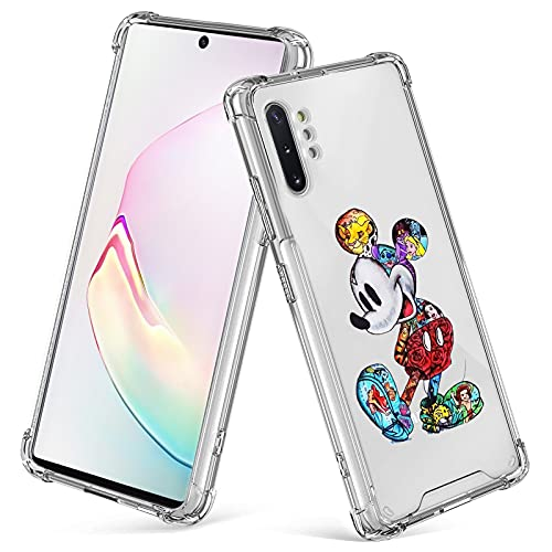 cuwana for Samsung Galaxy Note 10+ Plus 5G Case 6.8 Inch Mickey Mouse Cartoon Print Crystal Clear Slim Soft TPU Bumper Anti-Scratch Four Corners Cushion Shockproof Protection Hard Back Cover