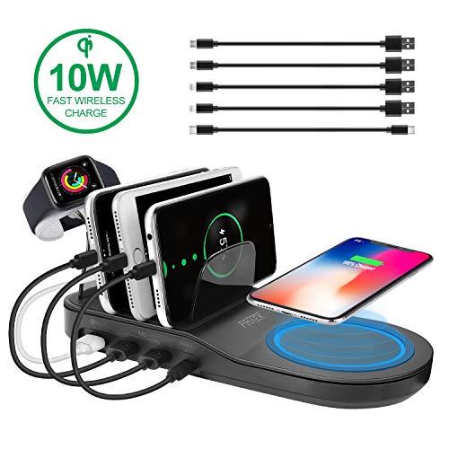 PRITEK USB Ladestation für Mehrere Geräte, Ladestation mit 18W Schnelles Laden USB Port, 10W QI Fast Induktion Pad, 12W Type-C Port & 2 12W Smart Ai USB Ports für Handy Tablette Kopfhörer (Schwarz)