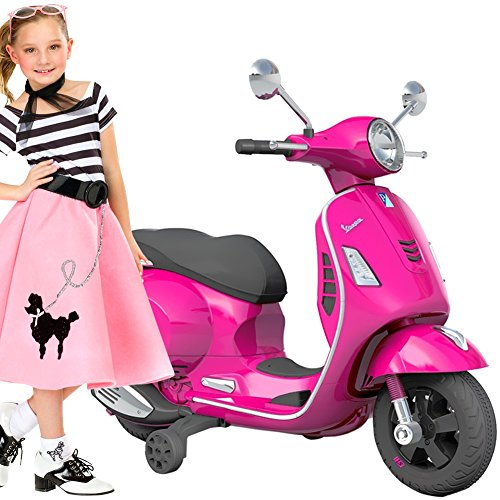 BAKAJI Moto Elettrica per Bambini Vespa VESPINA 12 V Completa di Luci Suoni Colore Rosa con rotelle