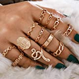 Tocona 13PCS/Sets Virgin Mary Gold Rings Sets for Women Snkle Clear Crystal Stone Geoemtric Weeding Rings Jewelry кольцо 14458