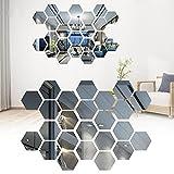 Pegatina de pared de espejo hexagonal, pegatinas de pared de espejo hexagonal...