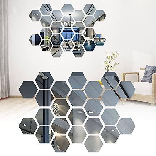 Pegatina de pared de espejo hexagonal, pegatinas de pared de espejo hexagonal tridimensional para baños restaurantes pasillos escaleras para antiincrustante, anti-moho, embellecer la decoración