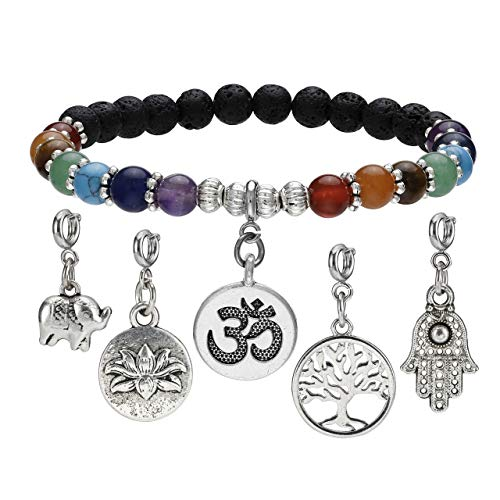 Top Plaza 7 Chakra Reiki Healing Crystal Bead Charm Bracelet Lava Rock Stone Aromatherapy Essential Oil Diffuser Stretch Bracelets with 5 Replaceable Charms